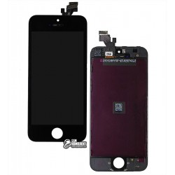 Дисплей iPhone 5, черный, с сенсорным экраном (дисплейный модуль),с рамкой, original (PRC)