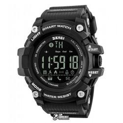 Мужские цифровые кварцевые смарт-часы Skmei 1227 с шагомером, водонепроницаемые, черные