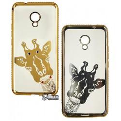 Чехол для Meizu M5c, Kingxbar, силиконовый, жираф золото