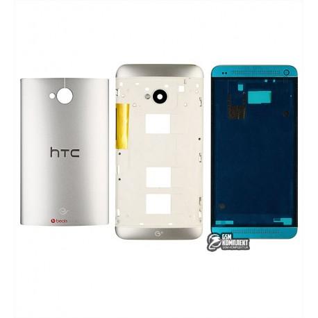 Корпус для HTC One M7 801e, сріблястий