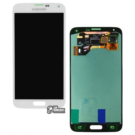 Дисплей для Samsung G900A Galaxy S5, G900F Galaxy S5, G900H Galaxy S5, G900I Galaxy S5, G900T Galaxy S5, білий, з сенсорним екраном (дисплейний модуль)
