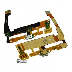 Шлейф для Alcatel One Touch 7047 POP C9 Bluish, коннектора зарядки, с компонентами