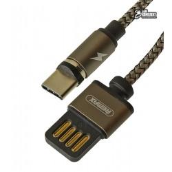 Кабель Type-C - USB, Remax RC-095a Gravity, магнитный, тканевый, 1,5 Ампер, 1метр