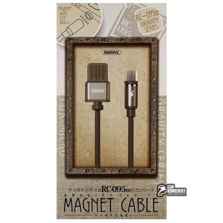 Кабель Micro-USB - USB, Remax RC-095a Gravity, магнитный, тканевый, 1,5 Ампер, 1метр