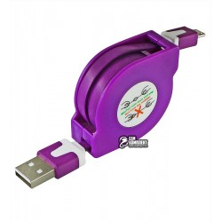 Кабель Micro-USB - USB, TOTO TKX-66, рулетка, плоский, 1 метр