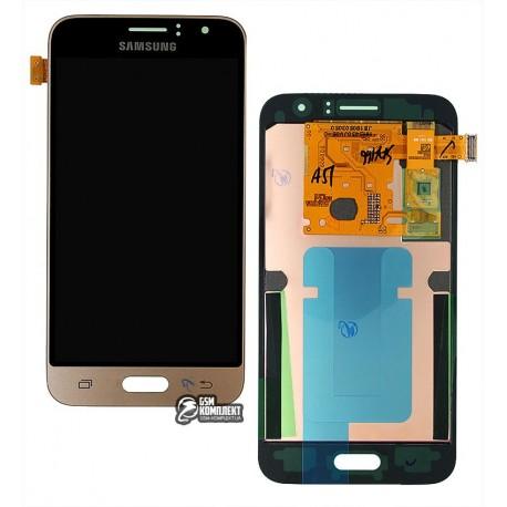 Дисплей для Samsung J120H Galaxy J1 (2016), золотистый, с сенсорным экраном, original, #GH97-18224B