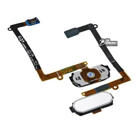 Шлейф для Samsung G925F Galaxy S6 EDGE, кнопки меню, белый, с компонентами