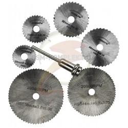 Набор дисковых пил для гравера 6шт (22мм 25мм 32мм 35мм 44мм 50мм) хвостовик 3.2мм