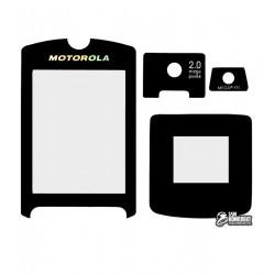 Скло корпусу для Motorola V3x, чорний, повний комлект