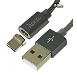 Кабель Type-C - USB, Hoco U40A, магнитный, 1 метр, 2А, в тканевой оплетке, серебро