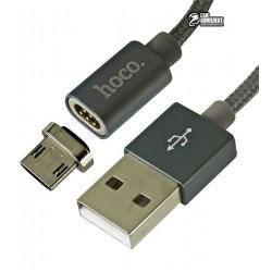 Кабель Micro-USB - USB, Hoco U40A, магнитный, 1 метр, 2А, в тканевой оплетке, серебро