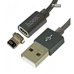 Кабель lightning - USB, Hoco U40A, магнитный, 1 метр, 2А, в тканевой оплетке, серебро