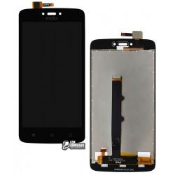 Дисплей для Motorola XT1750 Moto C, черный, с сенсорным экраном (дисплейный модуль), Сopy