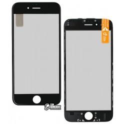 Стекло корпуса для Apple iPhone 6, с рамкой, с поляризационной пленкой, с OCA-пленкой, черное