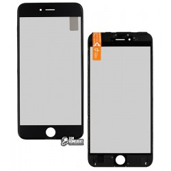 Стекло корпуса для Apple iPhone 6S Plus, с рамкой, с поляризационной пленкой, с OCA-пленкой, черное