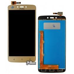 Дисплей для Motorola XT1723 Moto C Plus, золотистый, с сенсорным экраном (дисплейный модуль), Сopy