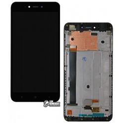 Дисплей для Xiaomi Redmi Note 5A, черный, с сенсорным экраном (дисплейный модуль), с рамкой, Original (PRC), 2/16 gb