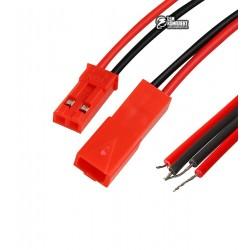 Комплект JST RCY коннекторов 2pin, пара штекер+гнездо с проводами, красный