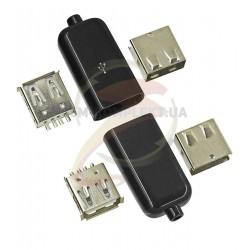 Гнездо USB-A с корпусом глянцевое
