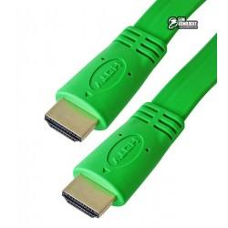 Кабель HDMI в HDMI, 1,5 метра, плоский, зеленый