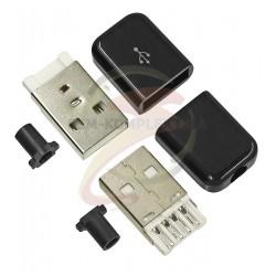 Штекер USB-A глянцевый с кабельным вводом