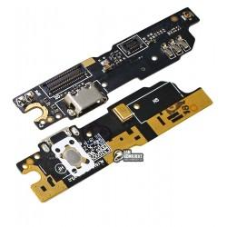 Шлейф для Meizu M3 Note, коннектора зарядки, кнопки меню, с микрофоном, с компонентами, плата зарядки, L681
