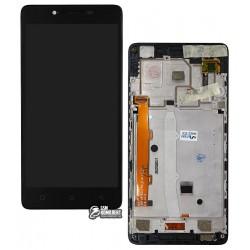 Дисплей для Lenovo A6010, черный, с сенсорным экраном (дисплейный модуль), в раме, с передней панелью