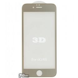 Закаленное защитное стекло 4D Glass для Apple iPhone 6, iPhone 6S, 3D, 0,3 мм 9H, золотистое