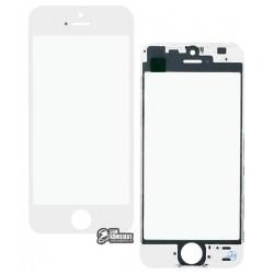 Стекло корпуса для Apple iPhone 5S, iPhone SE, с рамкой, с OCA-пленкой, белое