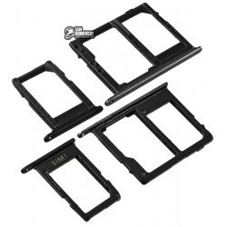 Держатель SIM-карты для мобильных телефонов Samsung J600F Galaxy J6, J600GZ Galaxy On6, черный, комплект 2 шт., c держателем MMC