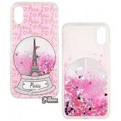 Чехол для iPhone X, iPhone XS, Stardust, силикон+пластик, с блестками, Paris