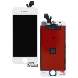 Дисплей iPhone 5, белый, с сенсорным экраном (дисплейный модуль), с рамкой, High Copy
