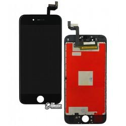 Дисплей iPhone 6S, черный, с сенсорным экраном (дисплейный модуль), с рамкой, High Copy