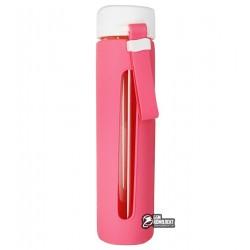 Бутылка для воды Sopin in Style, стеклянная в силиконовой защите, розовая