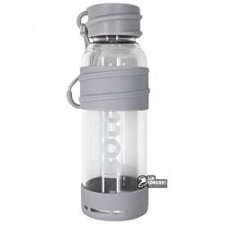 Бутылка для воды Boll, стеклянная в силиконовой защите, серая