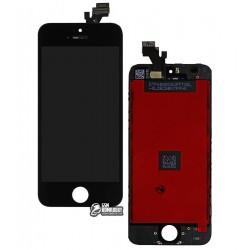 Дисплей iPhone 5, черный, с сенсорным экраном (дисплейный модуль), с рамкой, High Copy