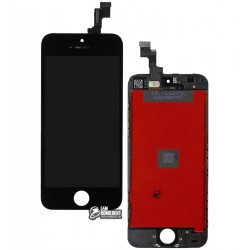 Дисплей iPhone 5S, черный, с сенсорным экраном (дисплейный модуль), с рамкой, High Copy
