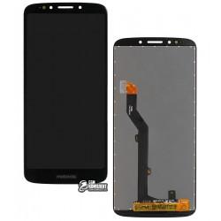 Дисплей для Motorola XT1922 Moto G6 Play, черный, с сенсорным экраном (дисплейный модуль), Сopy