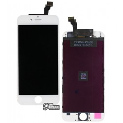 Дисплей iPhone 6, белый, с сенсорным экраном (дисплейный модуль), с рамкой, High Copy