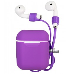 Чехол для Apple AirPods Case Case Silicone + Strap (силиконовый шнурок)