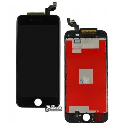 Дисплей iPhone 6S, черный, с рамкой, с сенсорным экраном (дисплейный модуль), high-copy