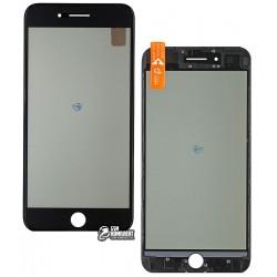 Стекло корпуса для Apple iPhone 7 Plus, с рамкой, с поляризационной пленкой, с OCA-пленкой, черное