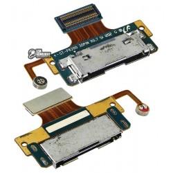 Шлейф для планшетов Samsung P6200 Galaxy Tab Plus, P6201 Galaxy Tab Plus N, коннектора зарядки, микрофона, с компонентами