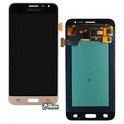 Дисплей для Samsung J320H/DS Galaxy J3 (2016), золотистый, с сенсорным экраном (дисплейный модуль), (OLED), High Copy