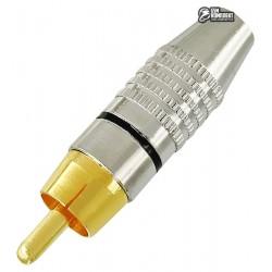 Штекер RCA silver-gold Ø6,5мм, корпус металл