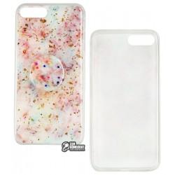 Чехол для iPhone 7 Plus/8 Plus, Confetti mramor case with pop socket (попсокет не приклеен), силикон, розовый