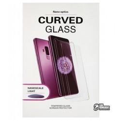 Закаленное защитное стекло для Apple iPhone X, iPhone XS, 0,3мм, 3D, прозрачное с лампой и UV клеем