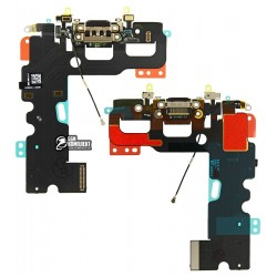 Шлейф для Apple iPhone 7, Original (PRC), коннектора наушников, коннектора зарядки, черный