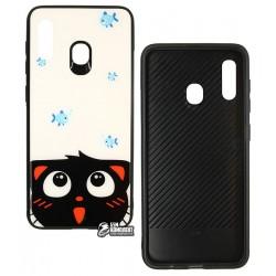 Чехол для Samsung A205F Galaxy A20, A305F Galaxy A30, TOTO, Cartoon Print Glass, Cat-Fish