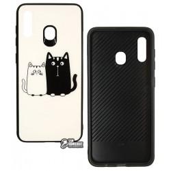 Чехол для Samsung A205F Galaxy A20, A305F Galaxy A30, TOTO, Cartoon Print Glass, Cats, White-Black